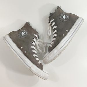 Converse suede gray high top faux fur lined